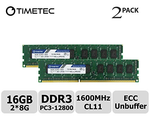 (Timetec Hynix IC 16GB Kit(2x8GB) DDR3L 1600MHz PC3-12800 Unbuffered ECC 1.35V CL11 2Rx8 Dual Rank 240 Pin UDIMM Server Memory Ram Module Upgrade (16GB Kit(2x8GB)))