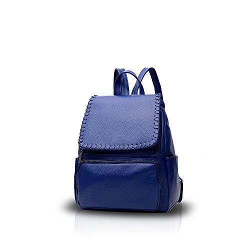 NICOLE&DORIS Nuevo Casual Elegante Mochila Bolsa De Viaje Mochila Bolso del Hombro Suave PU Vino Tinto Azul