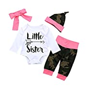 OUTGLE Newborn Baby Girl Little Sister Romper + Camouflage + Headband + Hat Clothing Set Autumn Outfits (3-6 Months)