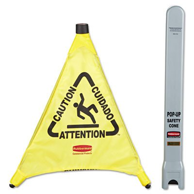 (RCP9S00YEL - Rubbermaid Multilingual amp;quot; Cautionamp;quot; Pop-Up Safety Cone)