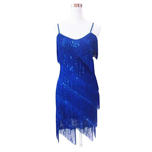 [Halter Latin/Rumba/Cha-cha Dance Dress Sequins Fringe Dance Skirt-Blue] (Chacha Dance Costume)