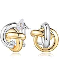 Gold and Silver Two Tone Earrings Twisted Celtic Knot Stud Earrings for Wowen, Statement Jewelry Fashion