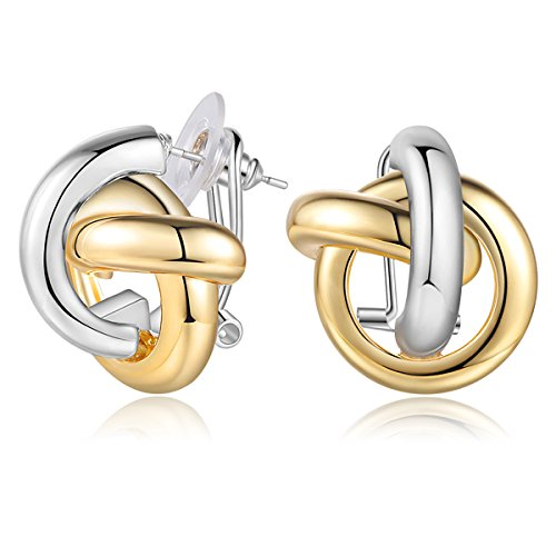 Carfeny Gold and Silver Two Tone Earrings Twisted Celtic Knot Stud Earrings for Wowen, Fashion Statement Jewelry