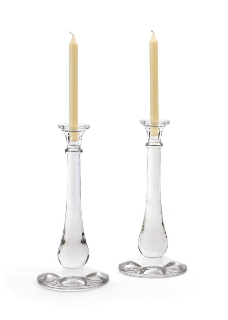 Country Candlestick Candleholder ( Set of Two ), Clear Glass