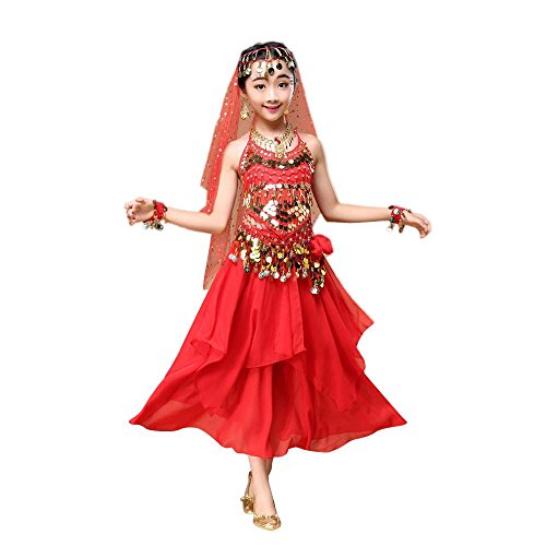 Kids' Costume Foutou Girls Belly India Dance Outfit Clothes Haning Neck Style Top+Skirt (M, Red)