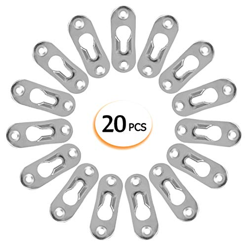 20 Pcs Keyhole Hangers Metal Fasteners for Picture Frames Mirrors Cabinet, 42 mm x 14 mm Flush Mount Hardware(no Screws) ()