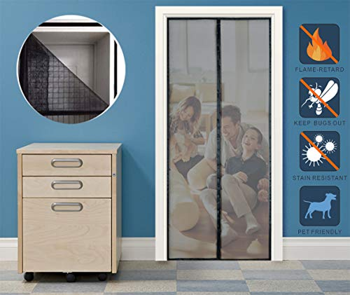 - Liveinu Fiberglass Flame Retardant Magnetic Window Screen Mesh Anti Fly Mosquito Insect Curtain with Magnets for Window and Door Full Frame,No Drilling,Hook & Loop Install Black 39