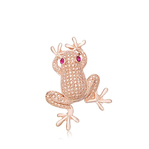 PANGRUI ersonalized Crystal Rhinestone Frog Brooch Pins Pendant with Chain Necklace Multi-Functions Brooch Necklace