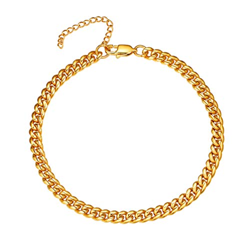 PROSTEEL Gold Anklet Bracelet 18K Gold Plated Miami Cuban Chain Gift Summer Beach Foot Chain Jewelry Anklet for Men Women