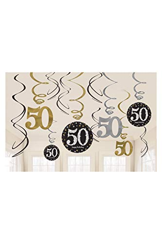 amscan 670479 Sparkling Celebration 50 Value Pack Foil Swirl Decorations, Multi Color