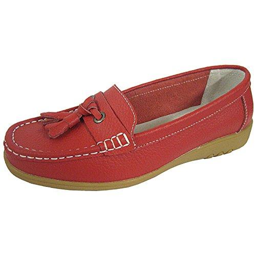 Mocasín de Smart Coolers Ballerinas Flats Red Mujer piel sandalias Loafers Para Premier SwE6qp