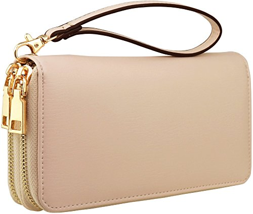 - B BRENTANO Vegan Double-Zipper Wallet Clutch with Removable Wrist Strap (Logo - Beige)