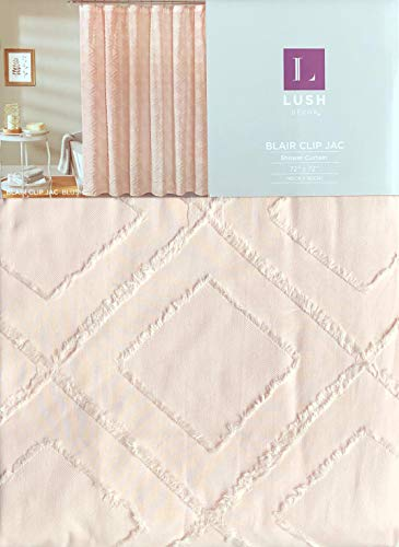Lush Decor Fabric Shower Curtain Solid Light Pink with a Clipped Textured Geometric Diamond Pattern - Blair Clip Jac, Blush