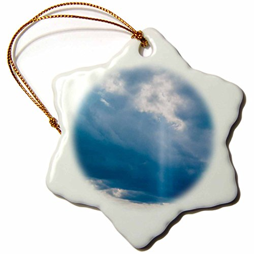 3dRose Alexis Photography - Nature Sky - Cloudy sky and a vertical ray of sunshine. Blue and white colors - 3 inch Snowflake Porcelain Ornament (orn_271919_1) (Porcelain Blessings Heavens)