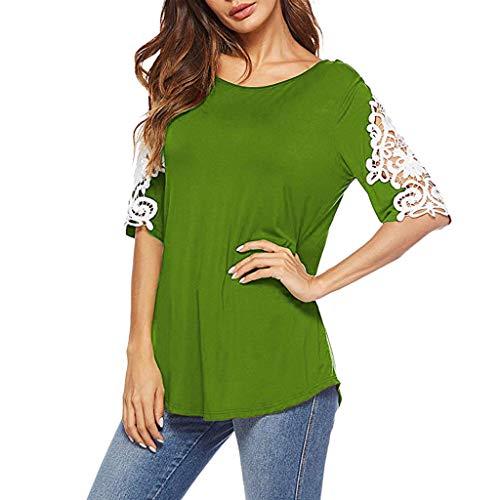 (Womens Sexy Tops 2019, YEZIJIN Fashion Women Casual Blouse Short Sleeve O Neck Lace Patchwork Crop Top T-Shirt Green)