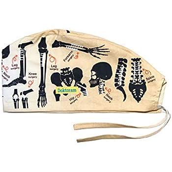 DOKTORAM Surgical Scrub Cap Medical hat Funny Prints Skull Cap (Bones) 76dc54fff57