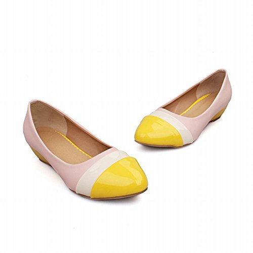 Latasa Womens Fashion Multicolored Pointed-toe Low Wedge Heel Faux Patent-leather Dress Pumps Shoes yellow toe uF3hfJ