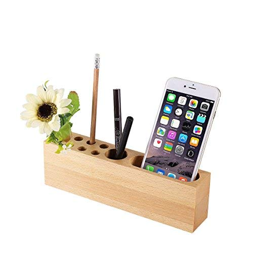 (OHHOI Office Supplies Desktop Storage Box Stationery Solid Wood Pen Holders,Mobile Phone Stand Wood Pen Stand | 10 Slots Desk Organizer for Office, Living Room, Bath Room, and Kitchen)