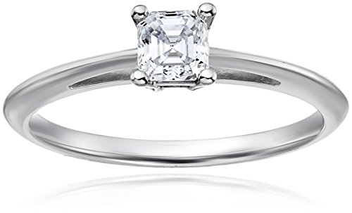 - House of Eleonore Wedding 18k White Gold Asscher-Cut Solitaire Laboratory-Created Diamond Engagement Ring (1/2 cttw, F-G Color, VS1-VS2 Clarity), Size 8