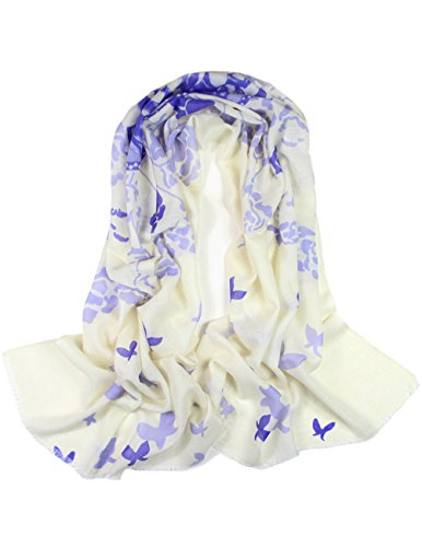 - Dahlia Women's 100% Wool Scarfs, Wraps, and Shawls Butterfly and Flower, Purple