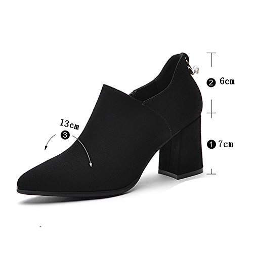 LIANGJUN Ankle Boots Women High Heels Shoes, 6 Sizes Available, 2 Colors (Color : Black-EU36=UK4.5=L:230mm) Black-EU37=UK5=L:235mm