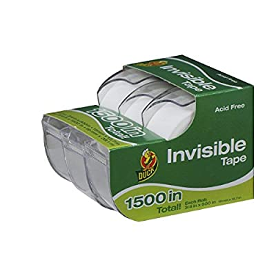 Duck Acid Free Invisible Stationery Tape, Matte Finish, 4 Refill Rolls, 3/4 in. W x 1000 in. L, 00-21064