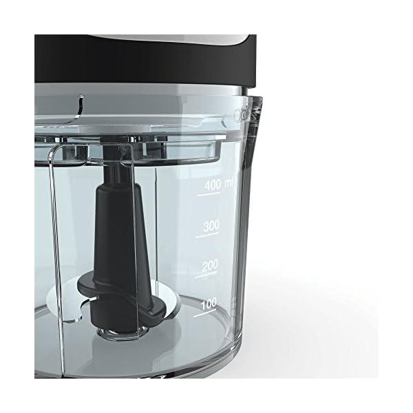 Imetec CH 500 Tritatutto, Lame in Acciaio Inox, Contenitore 400 ml, Funzionamento a Pressione, Compatto, 350 W, Nero 3