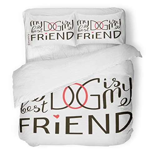 Semtomn Decor Duvet Cover Set Twin Size My Dog is Best Friend Brush Lettering Quote About 3 Piece Brushed Microfiber Fabric Print Bedding Set Cover]()