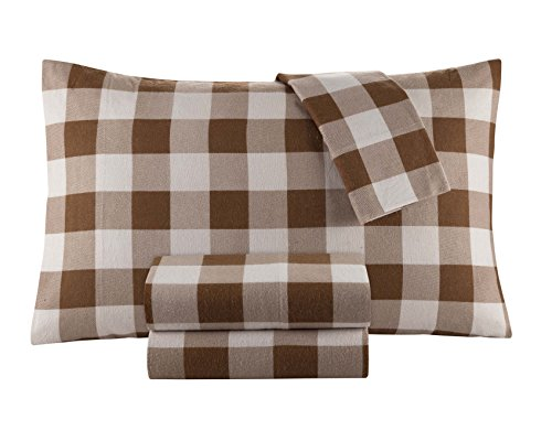 DELANNA Flannel Sheet Set 100% Cotton (Queen, Buffalo Check Brown)
