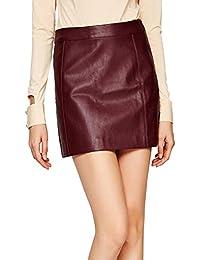 Women's PU Leather Skirt High Waist Back Zipper Mini A Line Skirts