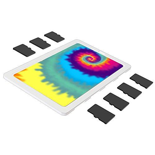 DiMeCard micro8 microSD Memory Card Holder Case WHITE TIE-DYE (Ultra thin credit card size holder, writable label) (Raspberry Pi 2 Sim Card)