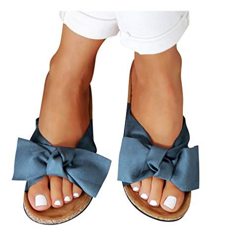 Womens Slides Beach Thong Slipper,Summer Bow Tie Flip Flops Flat Sandals for Women Blue ()