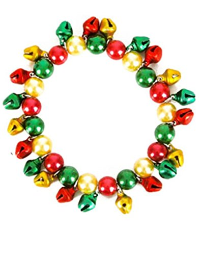 Jingle Bell Rock Costume (New Red Green & Gold Faux-Pearl Jingle Bells Bracelet)