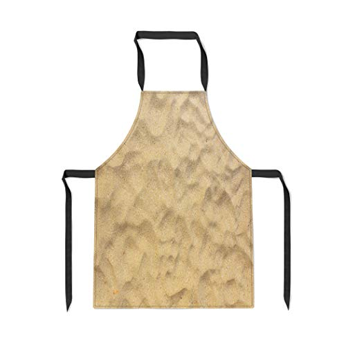 Pinbeam Apron Beige Desert Sand Sandy Beach for Top View with Adjustable Neck for Cooking Baking ()