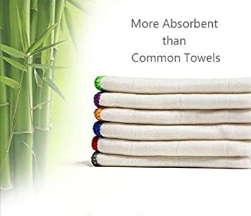 DEARTOWN Bamboo Microfiber Kitchen Towels (6pcs-Pack,1 Pack) White  Dishcloth,12 x 12 Inch, Ultra Absorbent Better Than Cotton