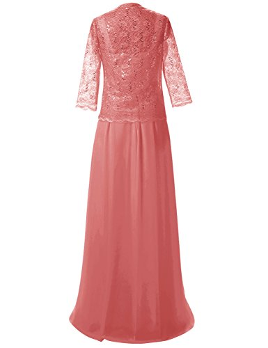 Festkleid Koralle Jacke Chiffon Kleider Spitze Braut Abendkleider Lang der Mutter mit Damen 6BWFvqP