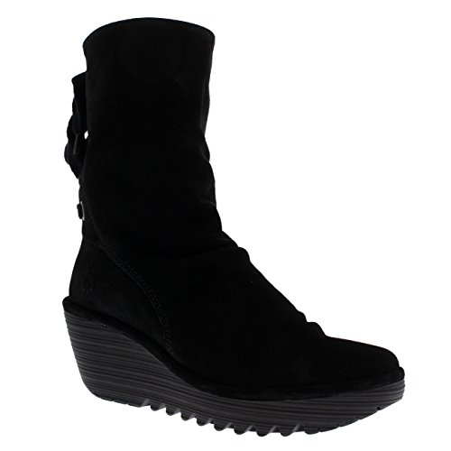 Womens Fly London Yada Wedge Heel Oil Suede Black Winter Mid Calf Boots - Black - 5 by FLY London (Image #4)