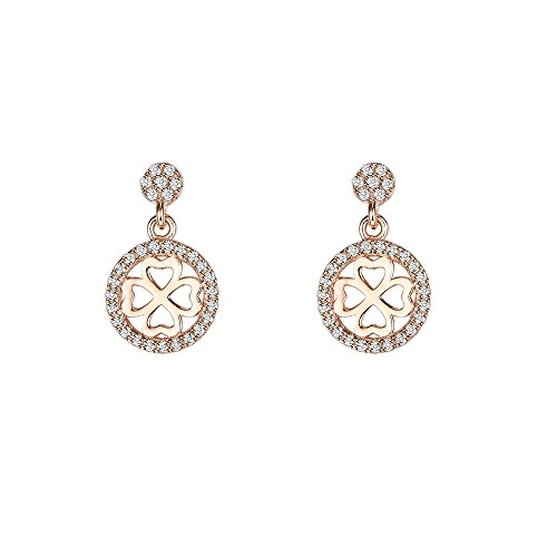 [T400 Jewelers 925 Sterling Silver Cubic Zirconia Flower Drop Earrings] (Princess Daisy Costumes Pattern)