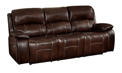 Leather Match Motion Sofa - Homelegance Mahala Power Double Recliner Sofa Top Grain Leather Match Vinyl, Brown