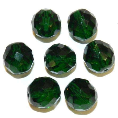 CZ6140 Emerald Green 12mm Fire-Polished Faceted Round Czech Glass Beads 35pc Crafting Key Chain Bracelet Necklace Jewelry Accessories Pendants