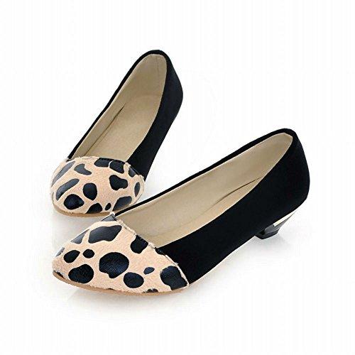 Carol Shoes Donna Casual Eleganza Colori Assortiti Modello Leopardato Polsino Basso Tacco Mocassino Scarpe Nere