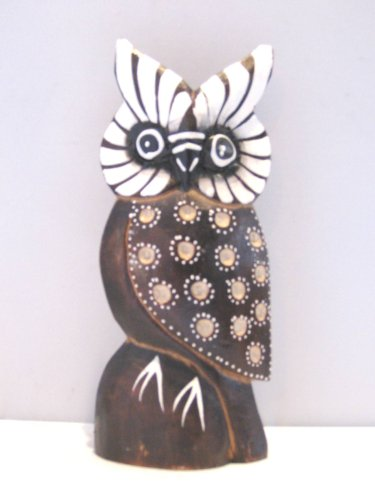 Wooden Owl Hand Carved and Hand Painted Wood Bali Home Decor Sculpture #2007