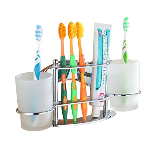 GDrems Stainless Steel Wall Mounted Toothbrush & Toothpaste and Tumbler Holder with 2 Cups for Bathroom,Chrome finish