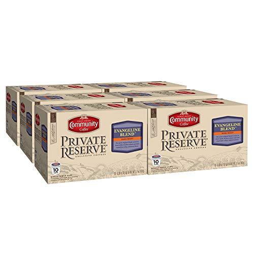 Community Coffee Private Reserve Evangeline Blend Dark Roast Single Serve Compatible with Keurig 2.0 K Cup Brewers, 60 Count