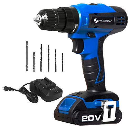 Prostormer 20V Cordless Drill Driver with Variable Speed Trigger, 3/8-inch Keyless Chuck, LED Light, 2-Speed Max Torque 310 In-lbs, 1 Hour Fast Charger, 2.0Ah Lithium-Ion Battery Review