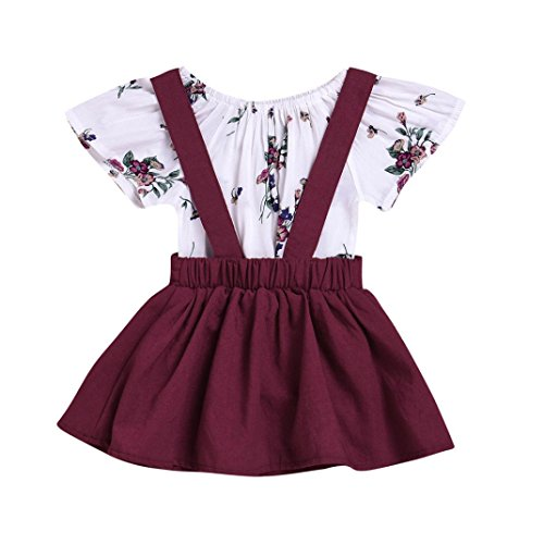 Convinced8 Baby Girls 2Pcs Infant Floral Print Rompers Jumpsuit Strap Skirt Outfits Set (24M, Wine)