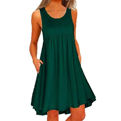Women Summer Dresses, JOYFEEL ❤️ Ladies Plus Size Solid Color O Neck Midi Dress Casual Loose Sleeveless Party Dress Green
