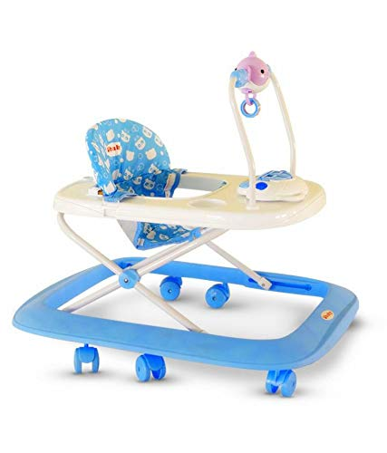 Ubaby Baby Walkers with Music Play Tray and Hanging Toys (Blue)