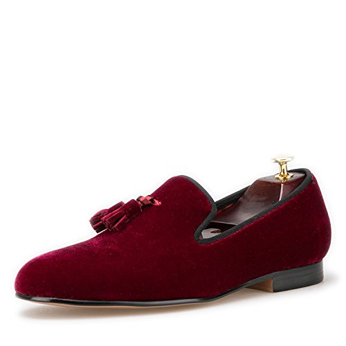 Loafer Velvet Slip Round amp;HANN Toes Men's Loafer Wine on Tassel Shoes Smoking HI Red Slipper WYIUwFqtz