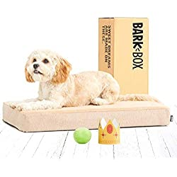 BarkBox Memory Foam Dog Bed | Plush Orthopedic Joint Relief Mattress Machine Washable + Removable Cover; Waterproof Lining, Includes Squeaker Toy | Small | Sand